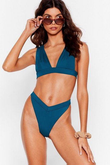 Teal High Leg V Cut Bikini Bottoms