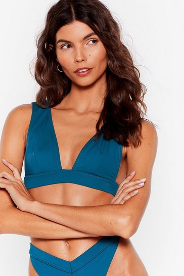Teal Recycled Fresh Start Triangle Bikini Top