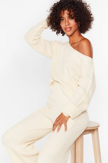 Cream A Hot Pocket of Conversation Knit Lounge Set