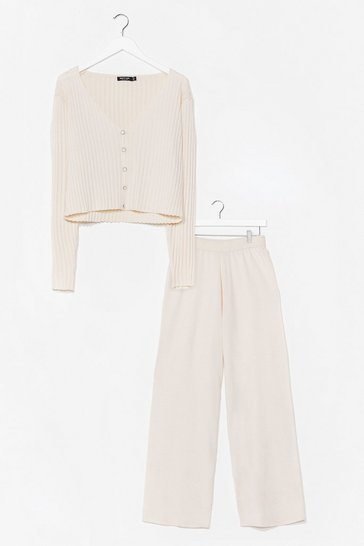 Cream Party of Two Knit Wide-Leg Pant Set