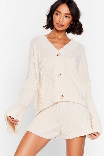 Cream Chunky Knit Shorts Loungewear Set