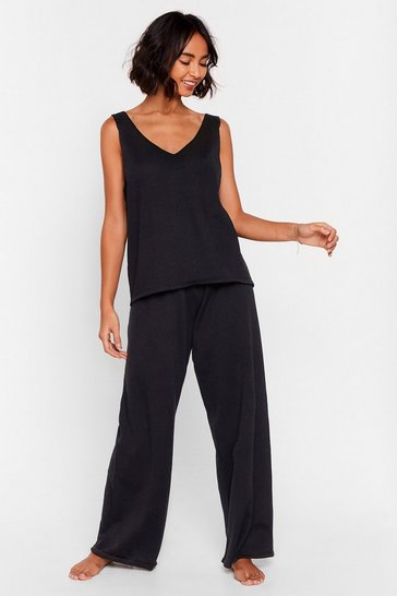 Black Conference Call Worthy Knit Tank Top Lounge Set