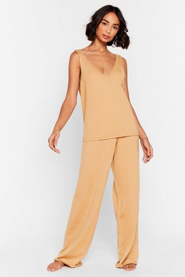 Oatmeal Knit V Neck Tank Top Loungewear Set