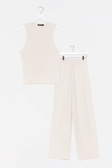 Cream Knit On Our Watch Top and Wide-Leg Pant Set