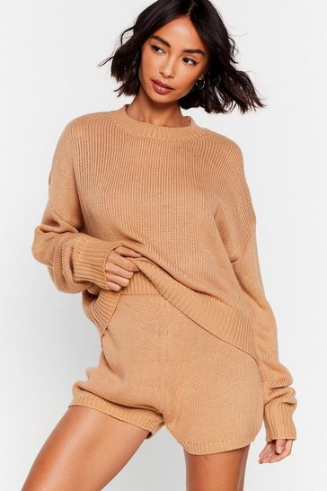 Oatmeal Knitted Jumper and Shorts Ribbed Lounge Set