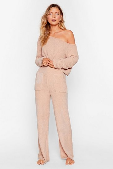 Oatmeal Chenille Sweater and Pants Loungewear Set