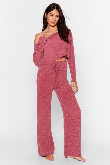 Rose Chenille Good Sweater and Pants Lounge Set