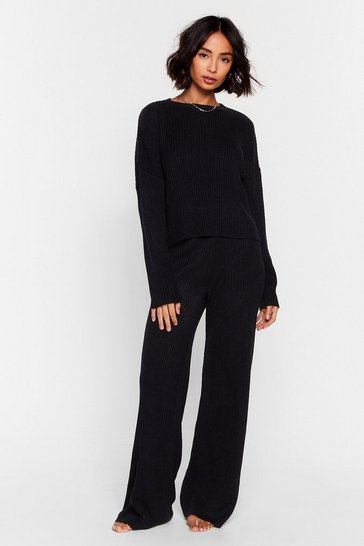 Black Knit Alone Sweater and Wide-Leg Lounge Set