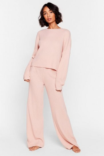 Nude Knit Alone Sweater and Wide-Leg Lounge Set