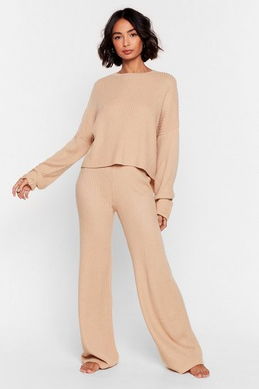 Oatmeal Knit Alone Sweater and Wide-Leg Lounge Set
