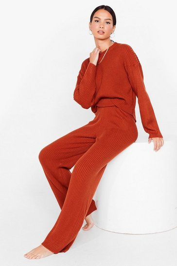 Rust Knit Jumper and Wide Leg Loungewear Set