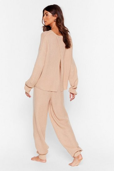 Oatmeal Luxe Back at It Knit Sweater and Jogger Lounge Set