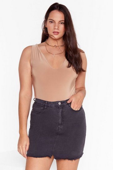 Charcoal Fray the Night Plus Denim Mini Skirt