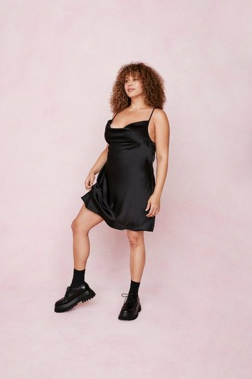 Black Plus Size Satin Cowl Mini Dress