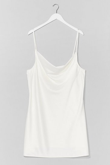 White Sought After Cowl Plus Mini Dress