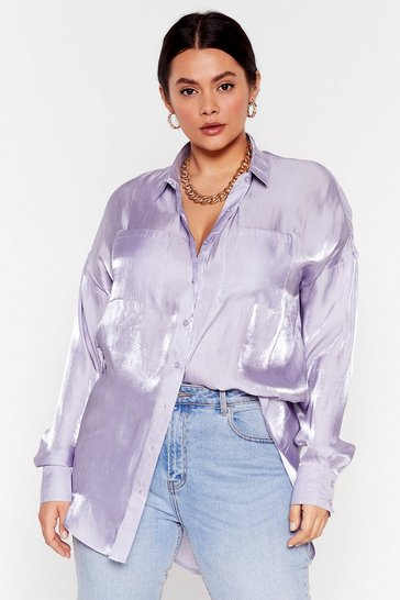 Lilac Plus Size Metallic Satin Shirt