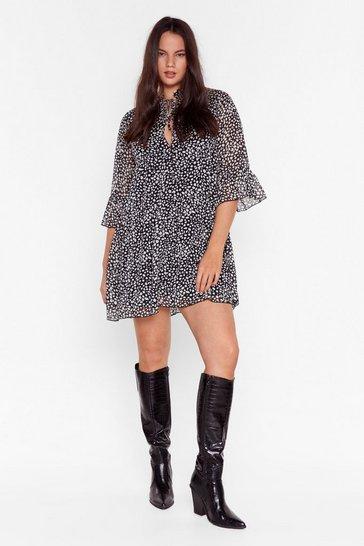 Black Spot to Get It Plus Tie Mini Dress