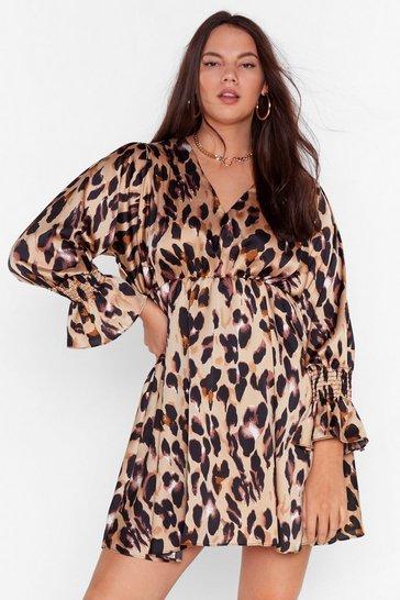 Brown So Fierce Plus Leopard Mini Dress