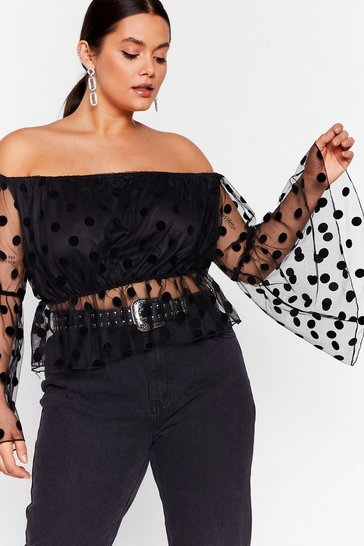 Black Plus Size Polka Dot Mesh Bardot Top