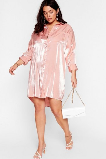 Pink Shine On Tonight Plus Shirt Dress