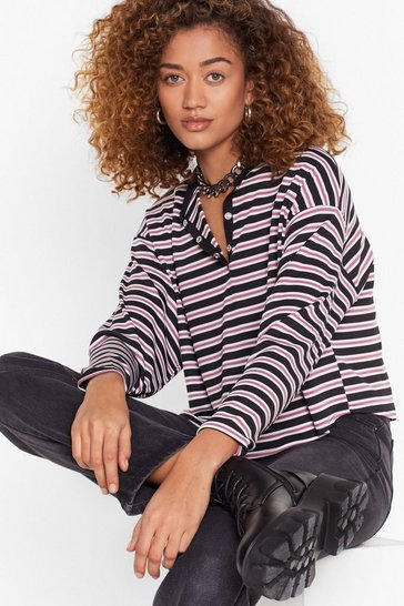 Mauve That's All Stripe Button-Down Cropped Top