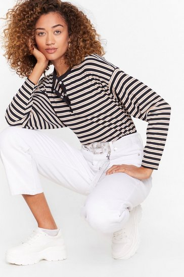 Sand That's All Stripe Button-Down Cropped Top