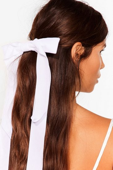 White Large Bow Hair Cup