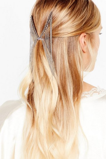 Silver Don't Leave V Hanging Fringe Hair Chain