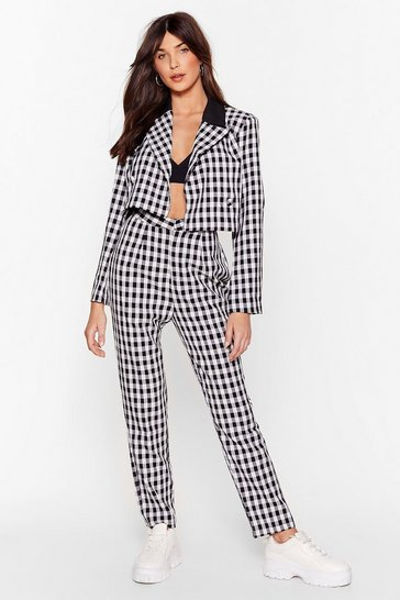 Mono See If We Square Gingham Tapered Pants