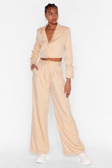 Beige Dressed to the Lines Pinstripe Wide-Leg Pants