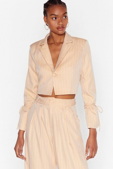 Beige Dressed to the Lines Cropped Pinstripe Blazer