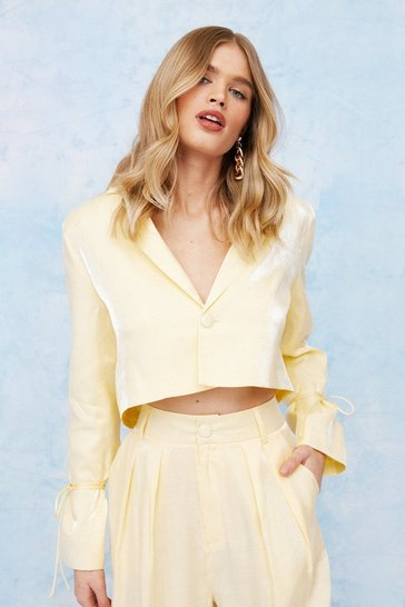 Lemon Satin Shimmer Cropped Button Down Blazer