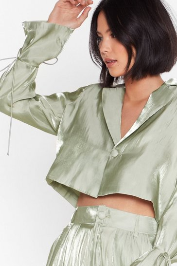 Mint Wine and Shine Satin Cropped Blazer