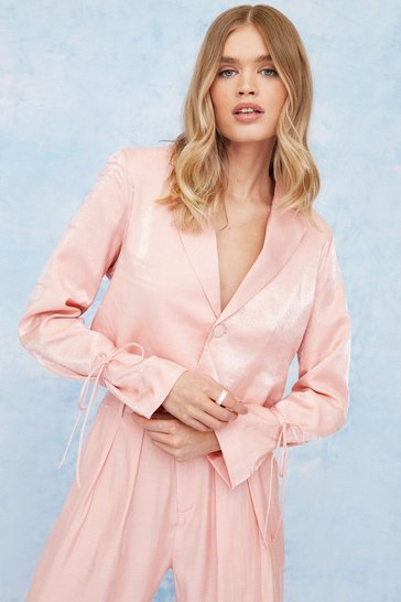 Pink Satin Shimmer Cropped Button Down Blazer