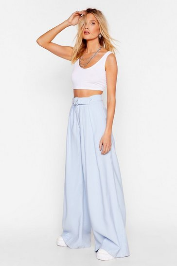 Blue Big Yourself Up Belted Wide-Leg Pants