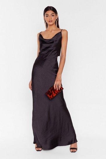 Black Satin Maxi Dress with Bow Back