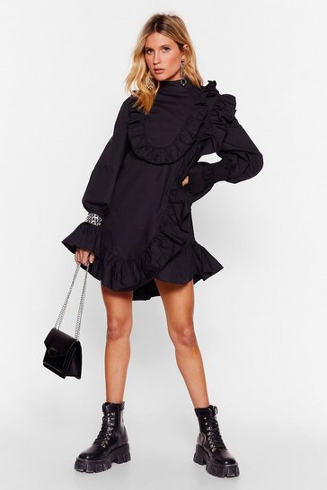 Black You're Frill the One Ruffle Mini Dress
