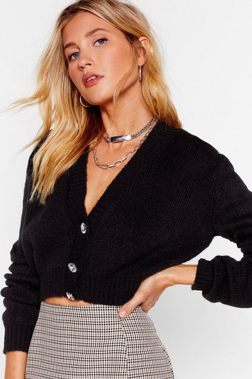 Black If Knit's Love Cropped Diamante Cardigan