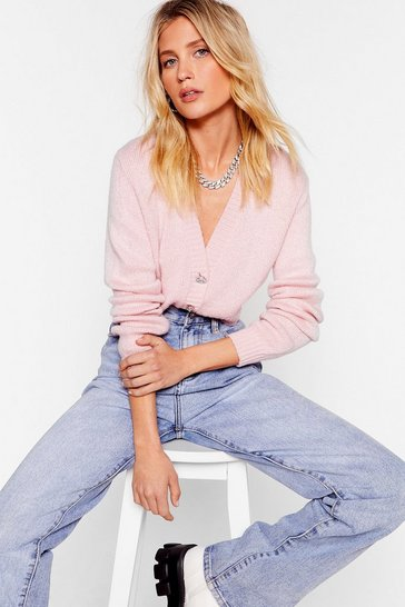 Pink If Knit's Love Cropped Diamante Cardigan