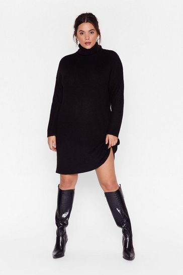 Black Knit Just Got Better Plus Sweater Dress