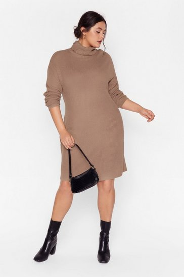 Taupe Knit Just Got Better Plus Sweater Dress
