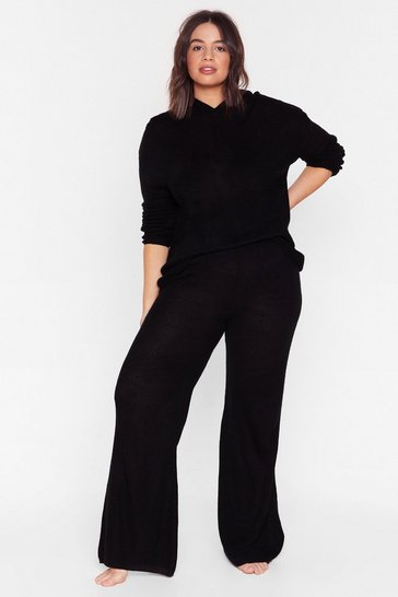Black Make Knit Happen Plus Wide-Leg Trousers Lounge Set