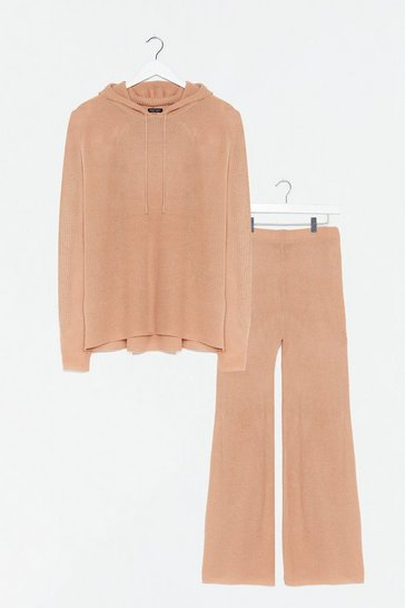 Camel Make Knit Happen Plus Wide-Leg Trousers Lounge Set