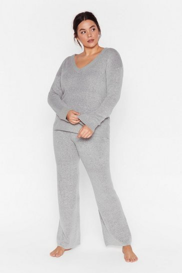 Grey Hello Weekend Plus Lounge Sweater and Pants Set