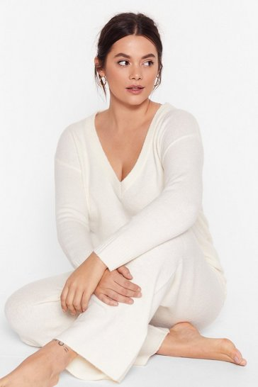 Ivory Hello Weekend Plus Lounge Sweater and Pants Set