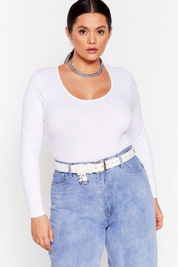 White Plunge In Scoop Plus Bodysuit