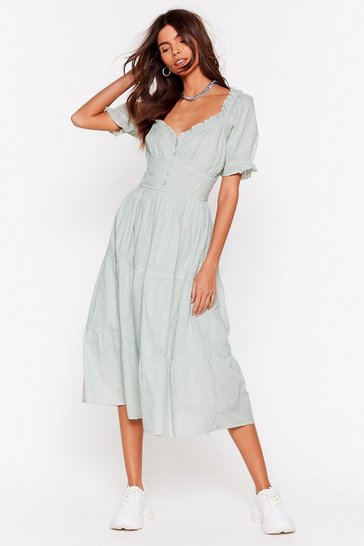 Sage Tier for You Broderie Anglaise Midi Dress