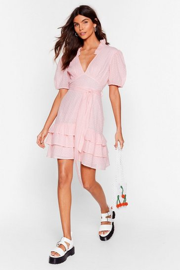 Baby pink Tier for You Ruffle Belted Mini Dress