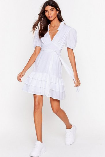White Tier for You Ruffle Belted Mini Dress