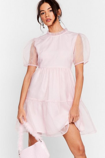Baby pink We Sheer What Your Sayin' Organza Mini Dress